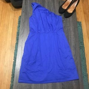 J. Crew Royal Blue One Shoulder Pleated Dress 4